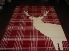 Rugs Approx 8x5 160x230cm Woven Backed stag Great Quality Red/Cream Checked